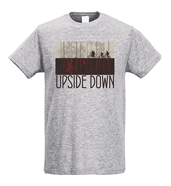 LaMAGLIERIA Camiseta Hombre Slim Upside Down Brown Print - Camiseta Stranger Things Mike Lucas Dustin Eleven Will 100% Algodòn Ring Spun: Amazon.es: Ropa y ...