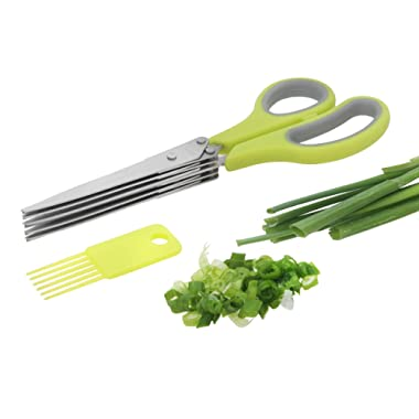 BriaUSA 5 Blade Professional Herb Scissors Stainless Steel, Multipurpose Kitchen Shear 5 Blades With Cleaning Comb