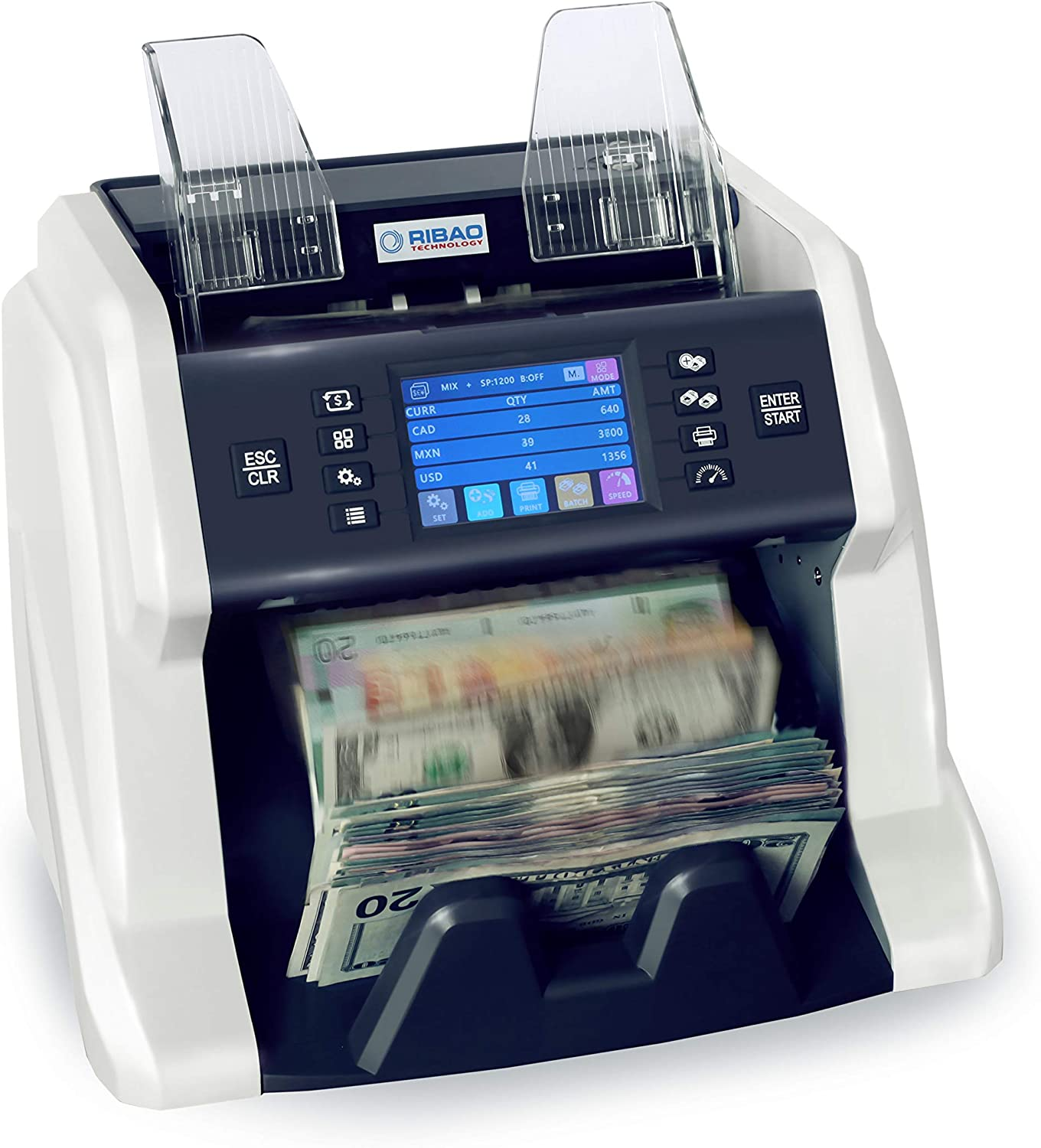 Ribao BC-55 Mixed Denomination Bill Counter UV/MG/MT/IR 2 CIS Image Sensors Counterfeit Detection Money Counter and Sorter with Currency Serial Number Recognition, Two-Year After Service 61WZgoSDRALSL1500_