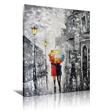 Amazon.com: Romantic Couple Umbrella Canvas Wall Art Abstract Modern ...