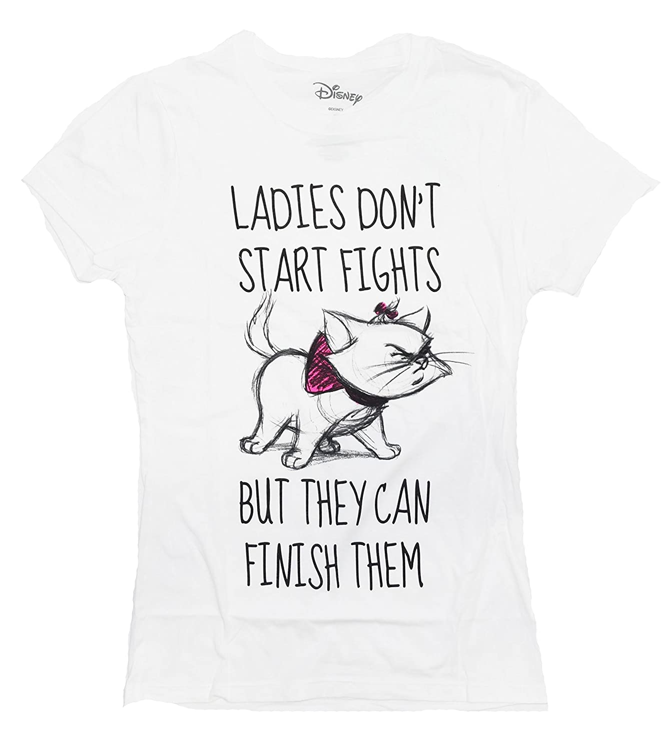 4559807e Officially licensed Disney T-shirt. Juniors are designed for teenagers or  smaller women and have a more fitted look. Marie believes herself to be  quite ...