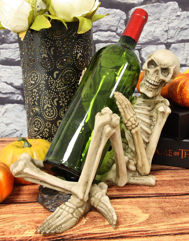Large Kneeling Grim Reaper Skeleton Wine Bottle /& Glasses Valet Holder Statue