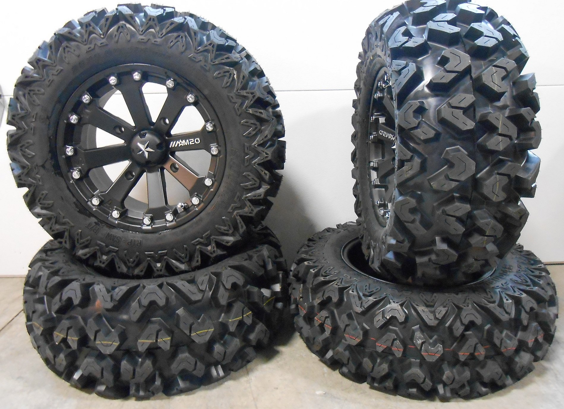 Bundle - 9 Items: MSA Black Kore 14'' ATV Wheels 26'' Rip Saw Tires [4x110 Bolt Pattern 10mmx1.25 Lug Kit]