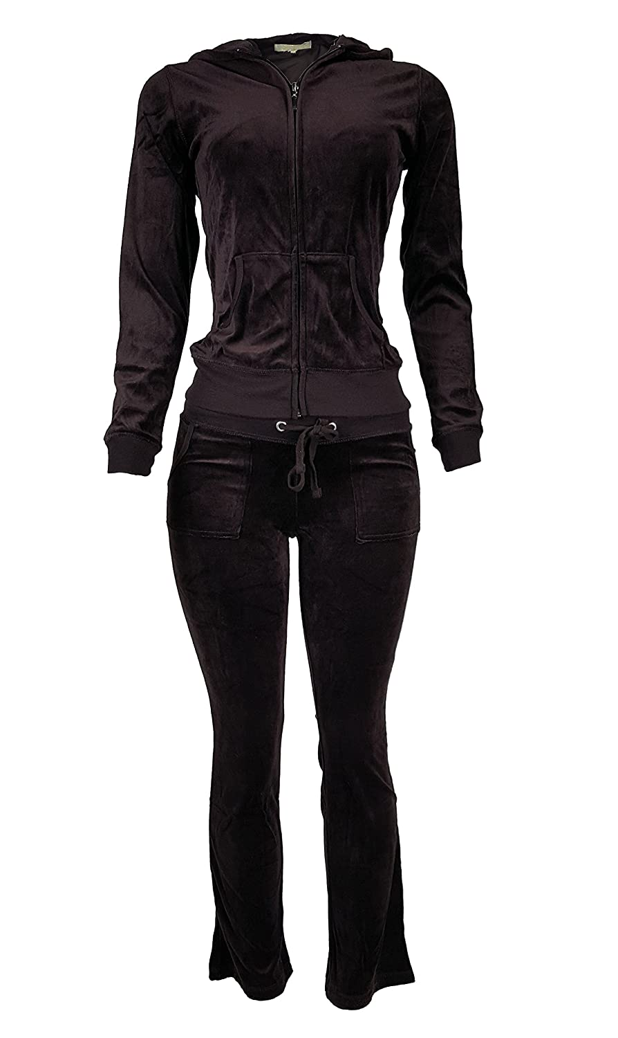 Women's Lightweight Hoodie & Sweatpants Velour Suit 2 Piece Loungewear Set (S-3XL)