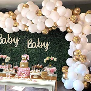 GuassLee White Balloon Arch Garland Kit - 124 Pieces White Gold and Gold Confetti Latex Balloons for Baby Shower Wedding Birthday Graduation Anniversary Bachelorette Party Background Decorations