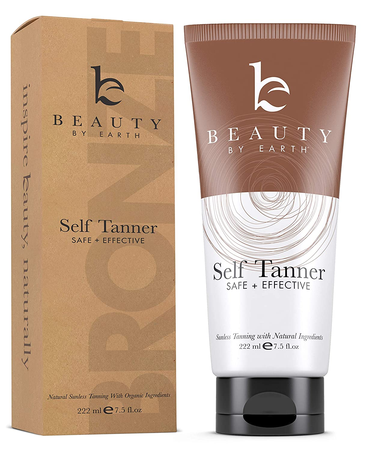Self Tanner - With Organic Aloe Vera & Shea Butter, Sunless Tanning Lotion and Bronzer Buildable Light, Medium or Dark Tan for Natural Looking Fake Tan, Self Tanners Best Sellers (7.5oz) : Beauty