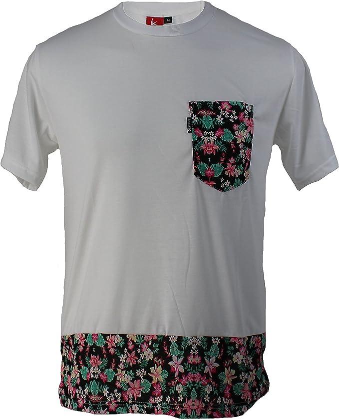 Camiseta Trankilo blanca con bolsillo de flores (M): Amazon.es: Ropa y accesorios