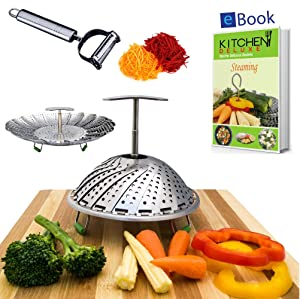 Kitchen Deluxe Vegetable Steamer Basket - EXTENDABLE HANDLE - Large - Fits Instant Pot - Accessories Include Peeler + eBook - 100% Stainless Steel - For Instapot Pressure Cooker 5, 6 Quart & 8 Qt