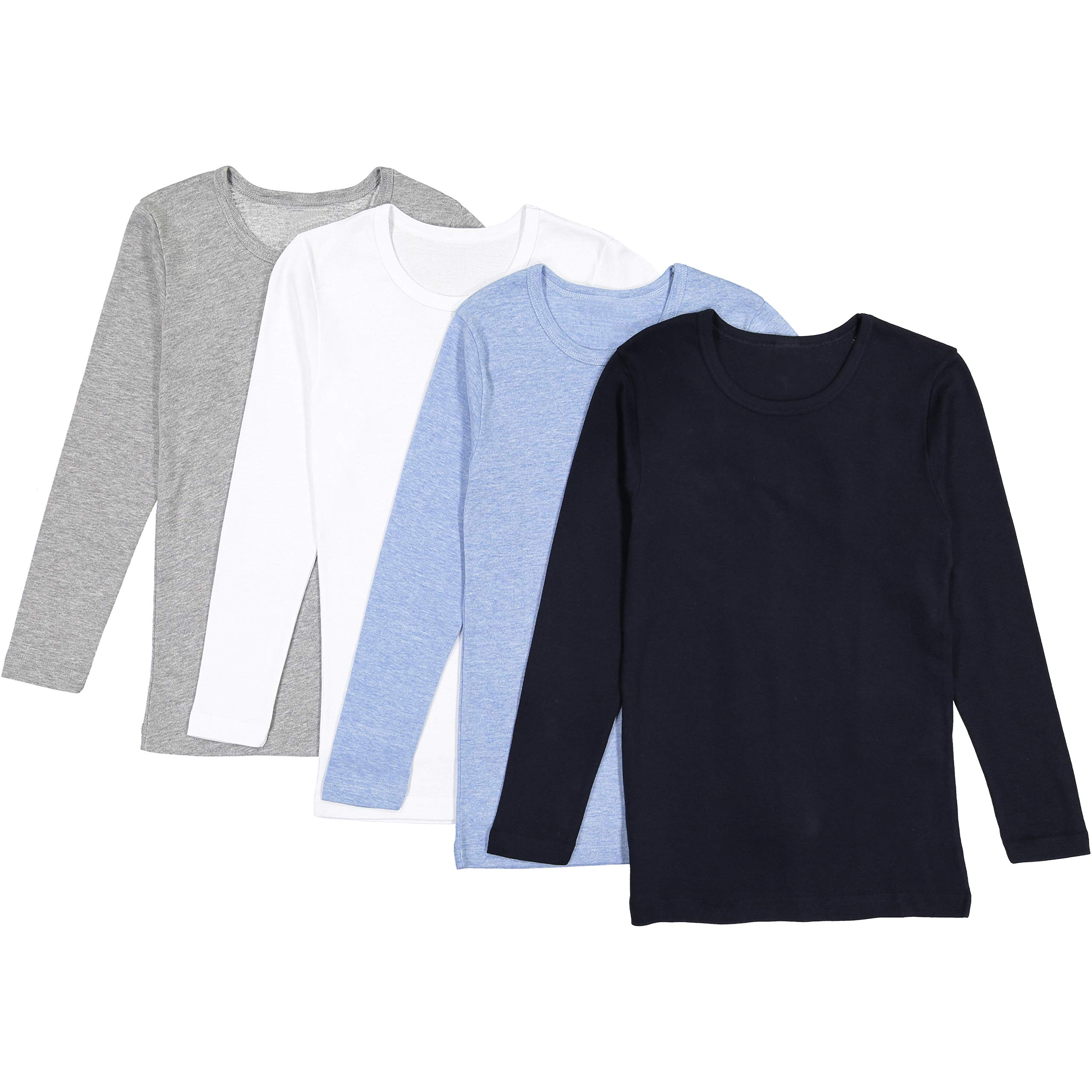Brix Boys' Long Sleeve Tees - Combed Cotton Super Soft 4-pk Crewneck Shirts. 9/10