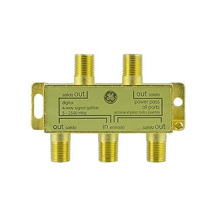 ge pro digital 4-way coaxial splitter, works with hdtv, amplifiers,  amplified