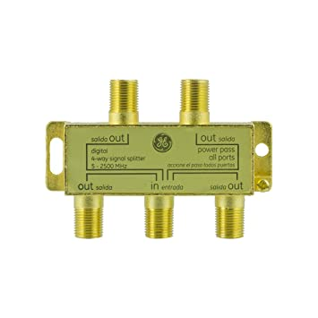 GE Pro Digital 4-Way Coaxial Splitter, 5 - 2500 MHz, Distributes a