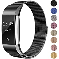 """SWEES Metal Bands Compatible Fitbit Charge 2, Milanese Stainless Steel Metal Magnetic Replacement Wristband Small & Large (5.5"""" - 9.9"""") for Women Men, Silver, Champagne, Rose Gold, Black, Colorful"""