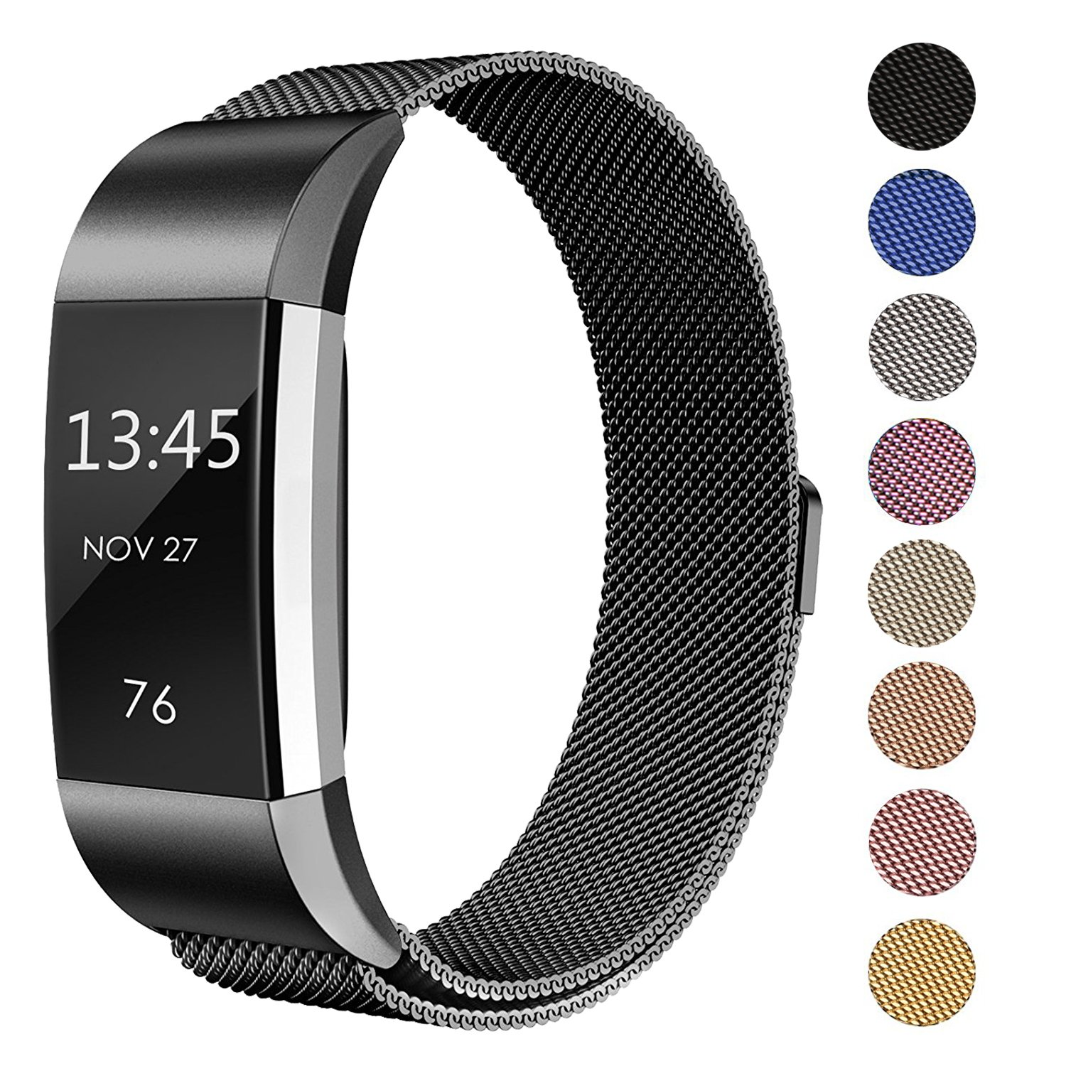 "Swees For Fitbit Charge 2 Bands Metal Small & Large (5.5"" - 9.9""), Milanese Stainless Steel Magnetic Replacement Wristband for Fitbit Charge 2 Women Men, Silver, Champagne, Rose Gold, Black, Colorful"
