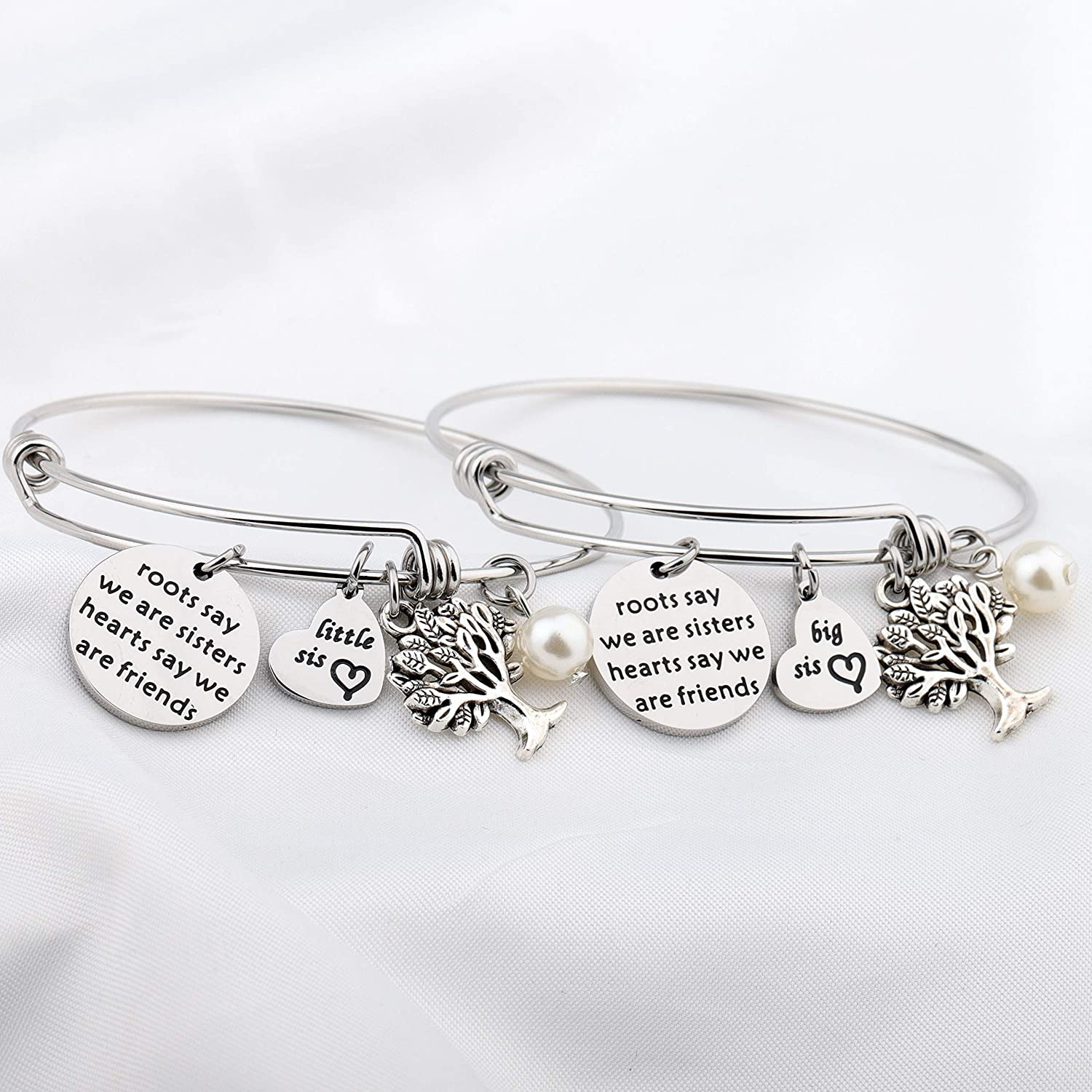 FUSTYLE Sisters Gifts Sister Bracelet Set of 2 Sister Jewelry Gift for Big sis Lil Sis Roots Say We are Sister Heart Say We are Friends
