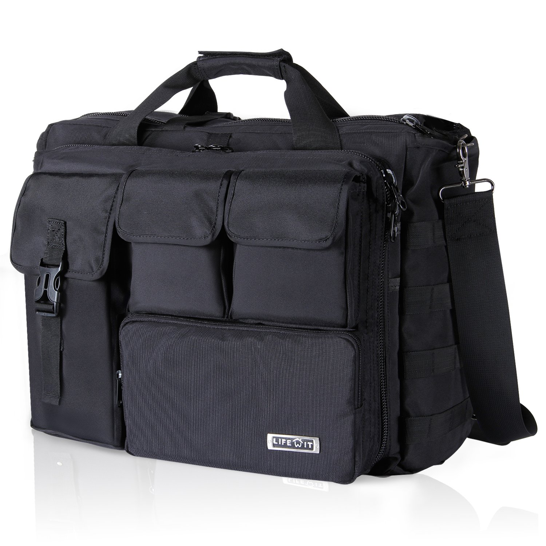 Lifewit 17 inch Men's Military Laptop Messenger Bag Multifunction Tactical Briefcase Computer Shoulder Handbags, Black by Lifewit
