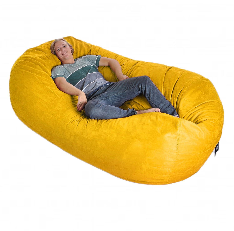 Amazon 8 Oval Yellow SLACKER sack foam Bean Bag Couch XXL