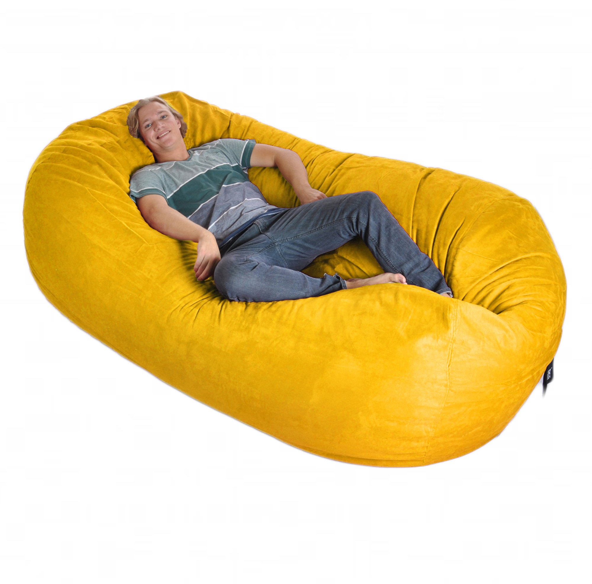 8' Oval Yellow SLACKER sack foam Bean Bag Couch XXL Beanbag Chair Lemon