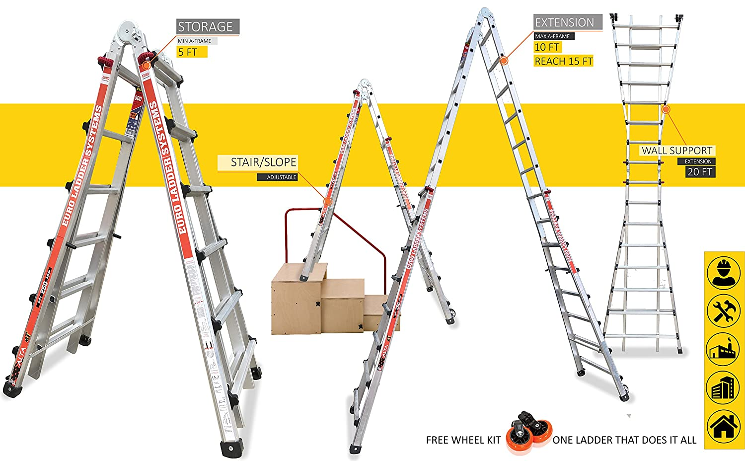 Euro Alta MT Telescopic ladder Model MT22 - 5 ft to 20 ft - Multi ...
