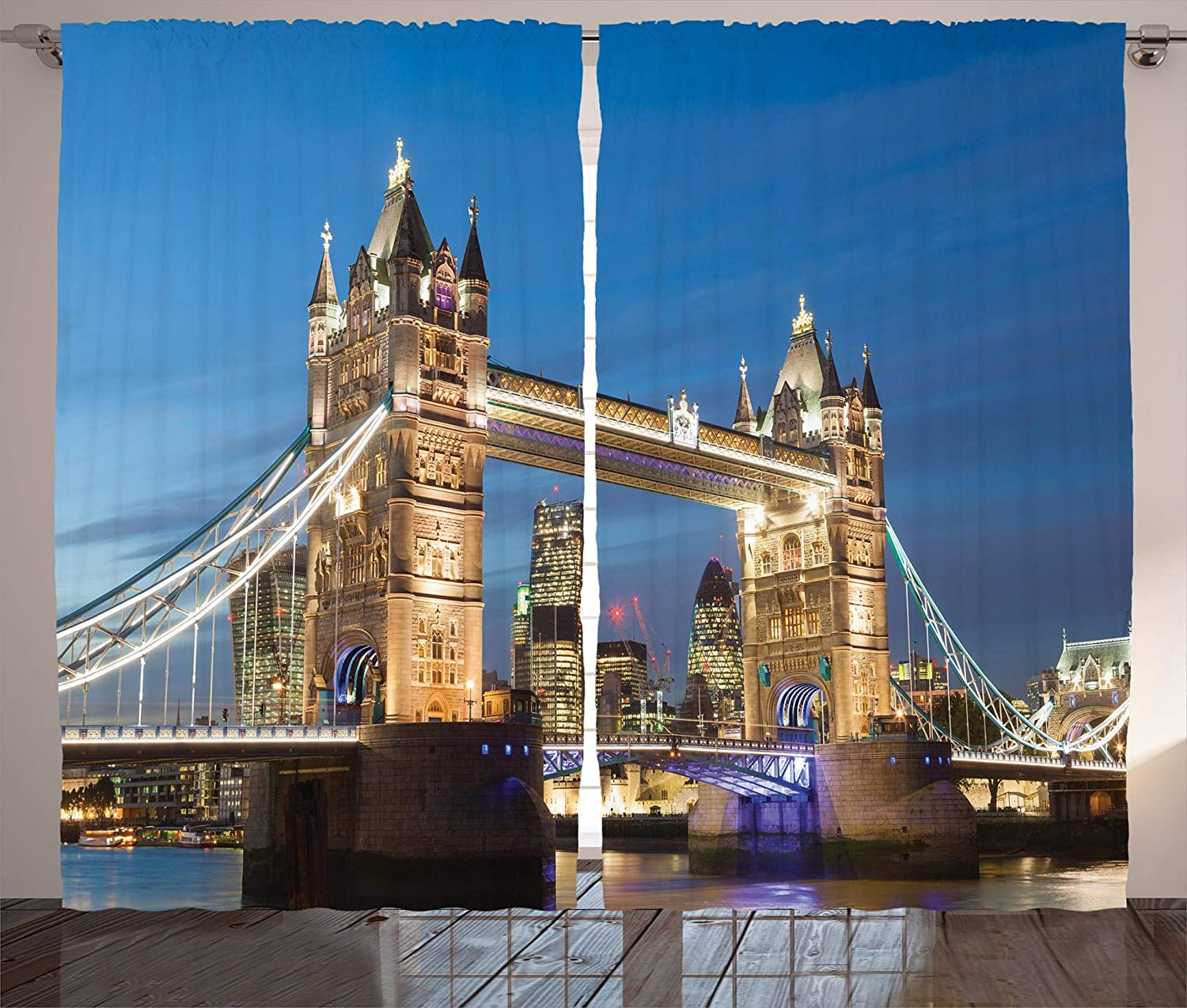 "Ambesonne London Curtains, Scenery of Landmark Tower Bridge at Twilight with Skyscrapers England UK Image, Living Room Bedroom Window Drapes 2 Panel Set, 108"" X 84"", Blue and Ivory"