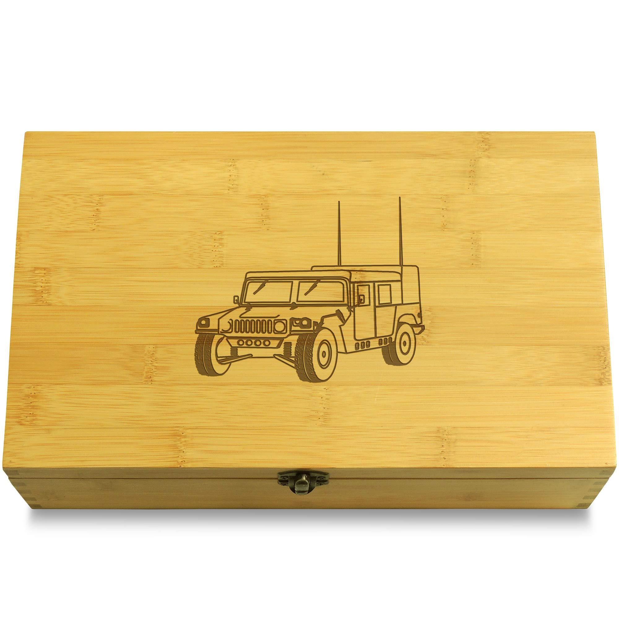 Cookbook People Humvee Army Truck Car Multikeep Box - Keepsake Wood Adjustable Organizer