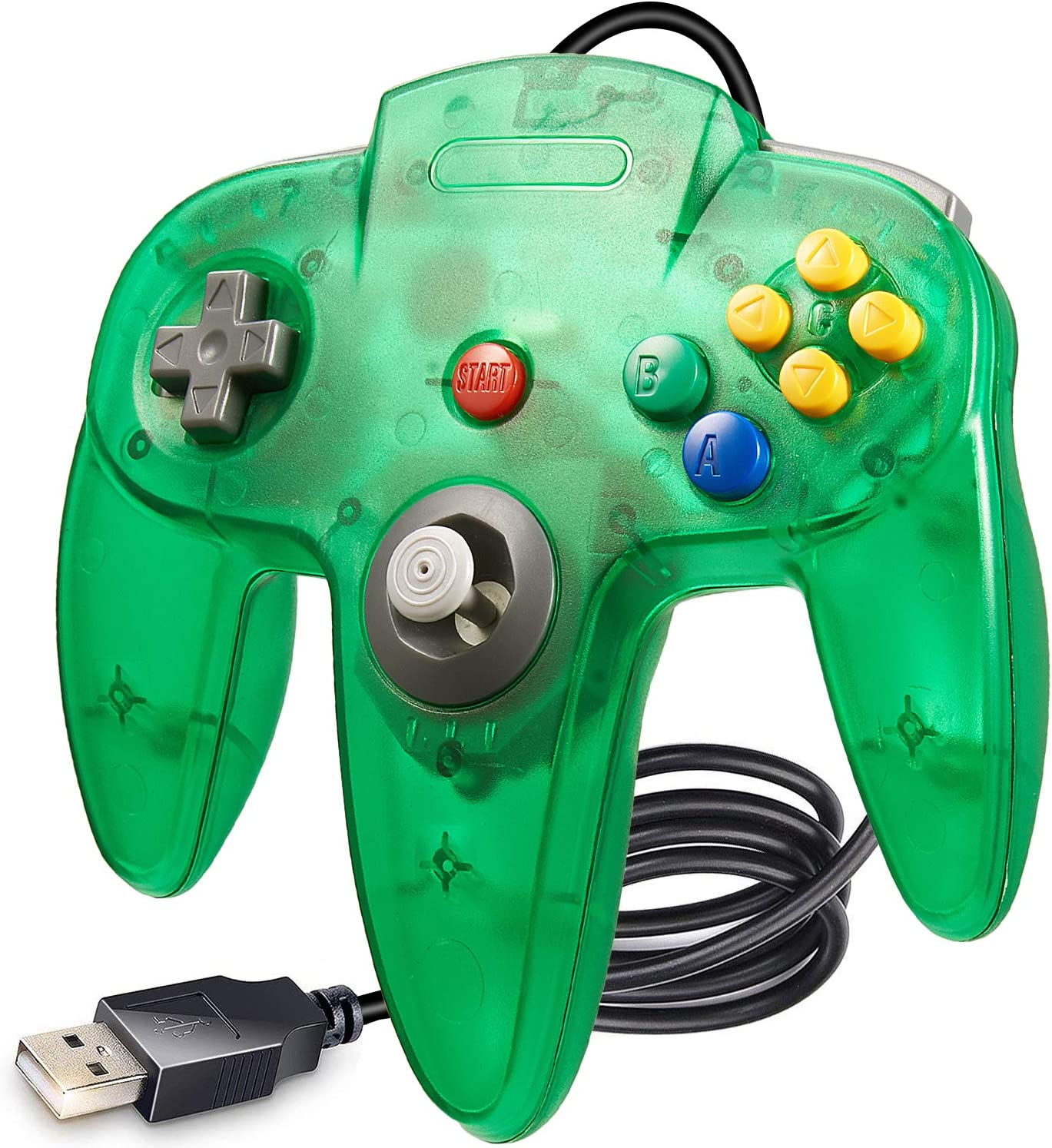 LUXMO PREMIUM Classic N64 USB Controller,Retro N64 Gamepad Joystick PC Controllers for Windows PC Mac Linux Raspberry pi3 Genesis Higan Retro Pie
