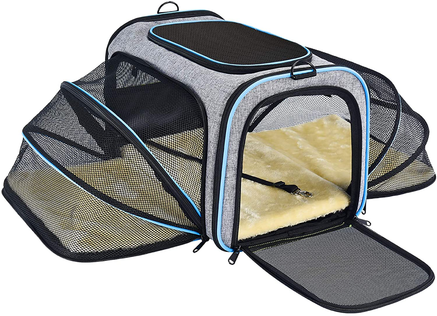 Amazon Com Omorc Pet Carrier Airline Approved Expandable Foldable Soft Sided Dog Carrier 3 Open Doors 2 Reflective Tapes Pet Travel Bag Safe And Easy For Cats And Dogs Grey Pet Supplies