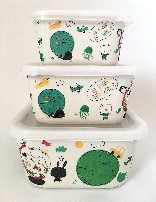 AMTNature ♻ Set 3 Bo/îte Alimentaire de bambou herm/étique naturel Convient aux lave-vaisselle. Support de nourriture id/éal pour b/éb/é et enfant Mat/ériau /écologique et sans BPA