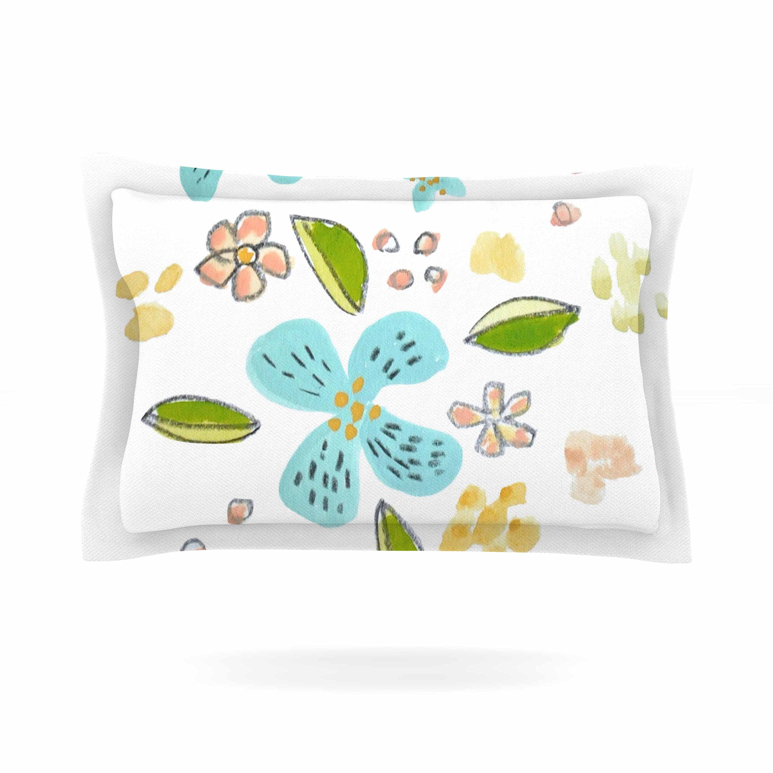 KESS InHouse Jennifer Rizzo ''Happy Flower Dance'' Blue Green Floral Pillow Sham, 40'' x 20''