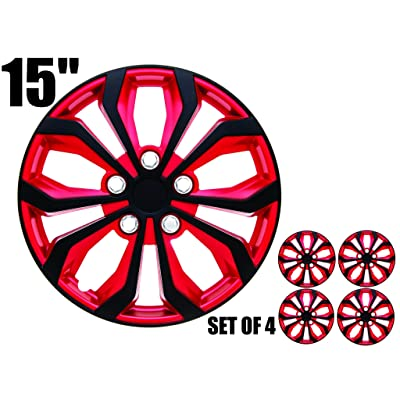 """15 inch Hubcaps INVERTED Red & Black """"SPA"""" 15"""" Easy to install (Set of 4) (Inverted Red & Black, 15): Automotive"""