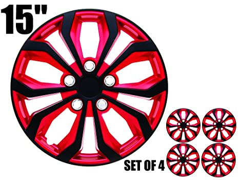 15 inch Hubcaps INVERTED Red & Black