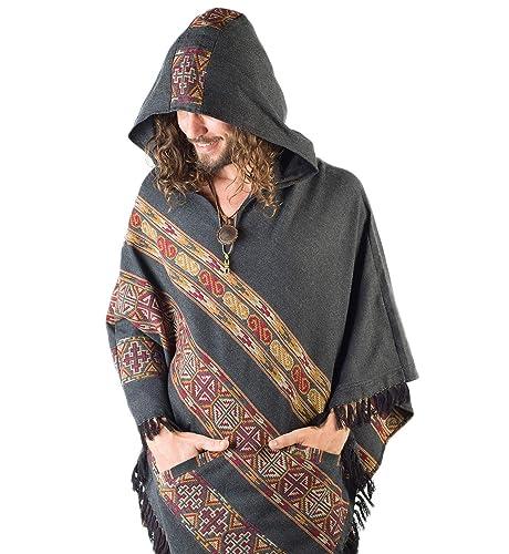 Amazon com: Handmade Hooded Mens Poncho Dark Grey Cashmere