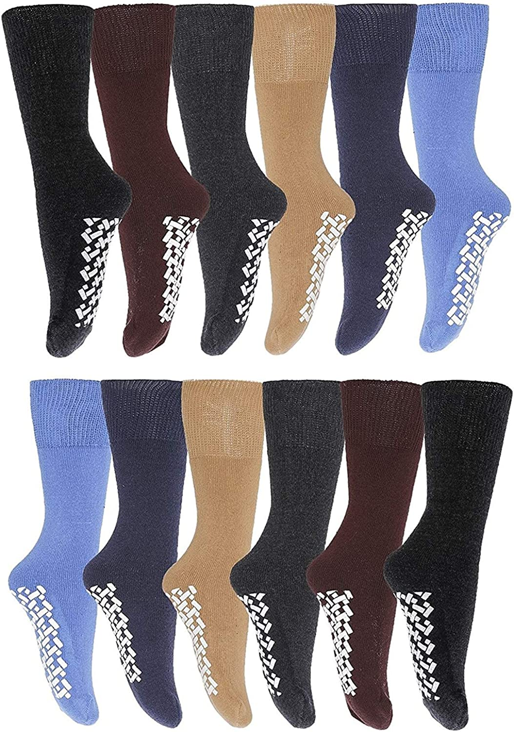 6 and 12 Pairs of Mens & Womens Non Skid/Slip Medical Socks, Cotton With Rubber Gripper Bottom, Assorted Colors
