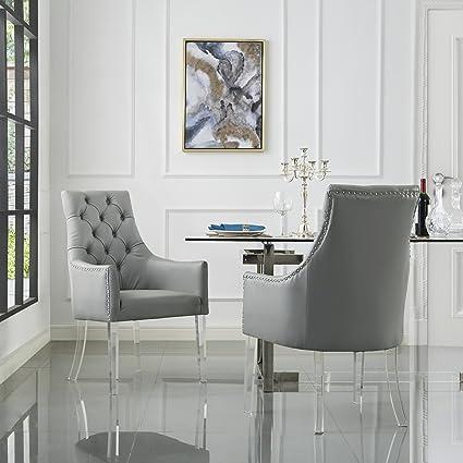 Amazoncom Pu Leather Acrylic Leg Dining Chair Set Of 2 Grey Chairs