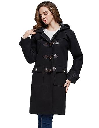 Camii Mia Womens Vintage Hooded Wool Blend Duffle Toggle Coat (X-Small, Black