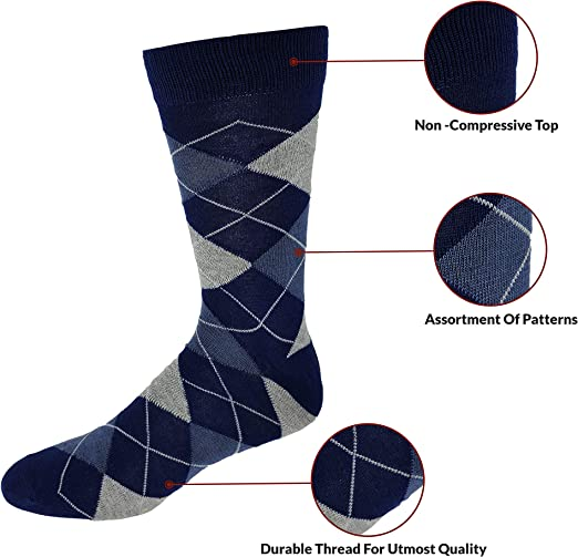 Debra Weitzner Mens Dress Socks 6 Pairs Colorful Cotton Colors May Vary Argyle Socks Patterned