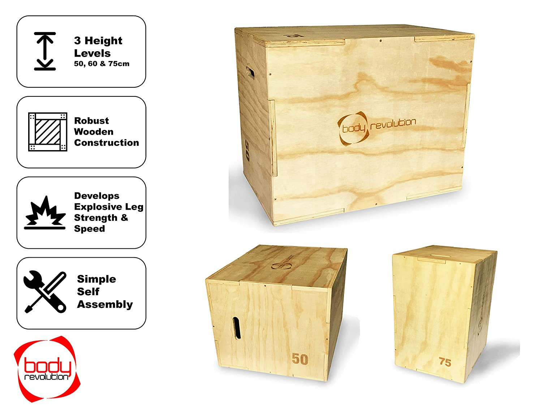 60cm and 75cm 3 Variable Heights 50cm IDEAL PARA CROSSFIT Y PLYO Entrenamiento De Fortalecimiento BODY REVOLUTION RESISTENTE madera plyometric Jump Caja