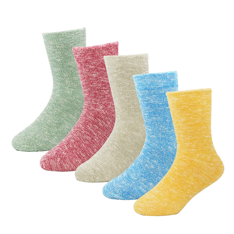 Bestjybt Kids Toddler Little Girls Winter Warm Cotton Candy-colored Crew Socks 5 Pairs