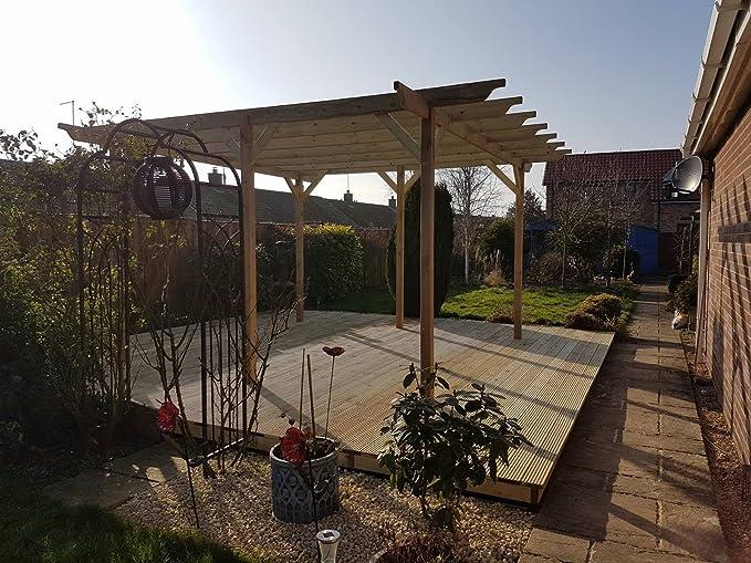 Estructura de madera jardín pérgola 4, 8 m x 4, 8 m – 6 puestos – Luz Verde – esculpido vigas – hecho a mano Arbour de madera tratada a presión: Amazon.es: Jardín