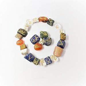 25 Pcs Mix Chakra Runes Stones Set Tumble Reiki Healing Runes Engraved Symbol Aura Crystal Cleansing Chakra Balancing Kit Gemstone Table Decor Spiritual Gift Love Peace Good Luck Feng Shui