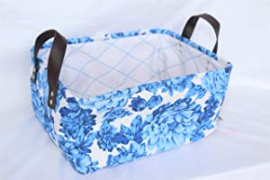 Pioneer Woman Heritage Blue Floral Canvas Basket