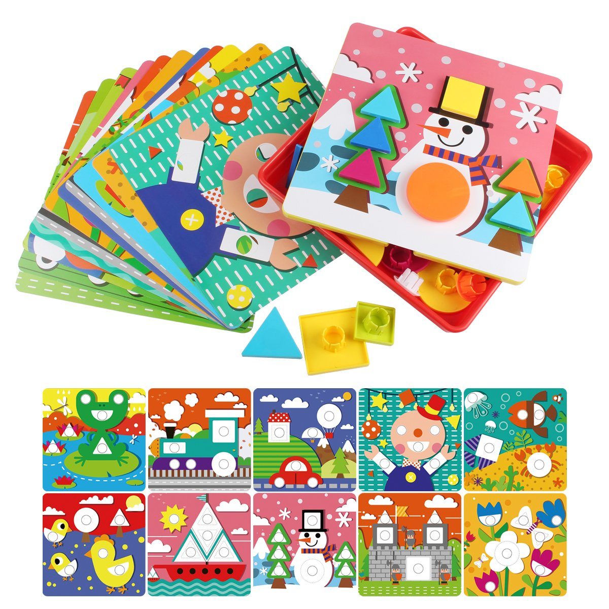 Korano Button Art Color Matching Mosaic Pegboard Set ,Early Learning Educational Toys for Kids