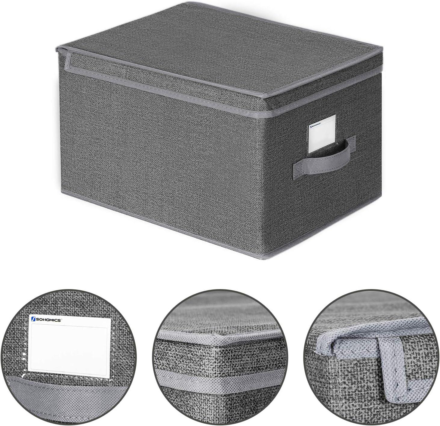 30 x 40 x 25 cm Gris Ahumado RYFB03G Cajas de Almacenaje de Tela con Portaetiquetas SONGMICS Juego de 3 Cajas Plegables con Tapas