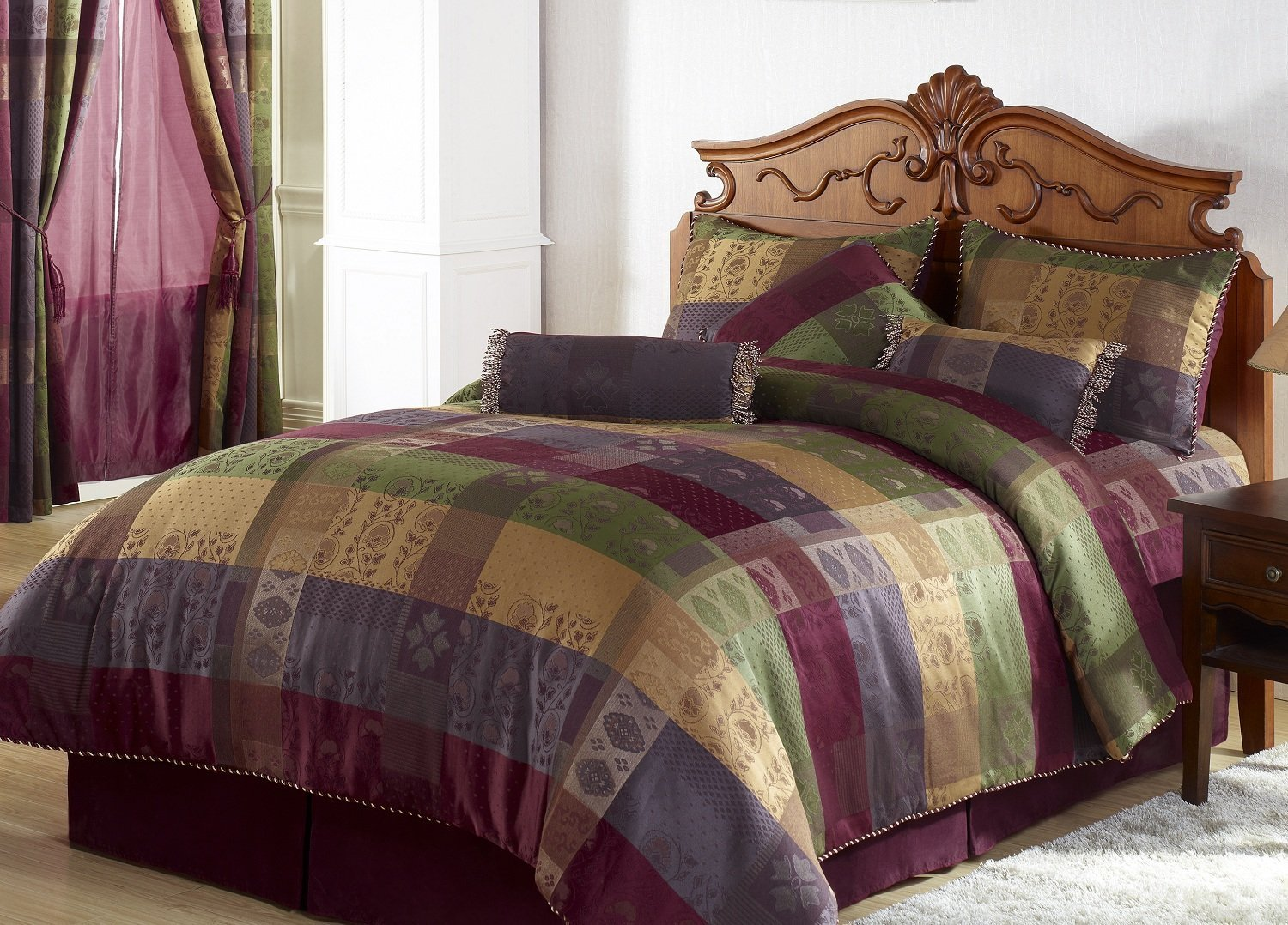 Comforter Set Bag King Size Bedding, Burgundy