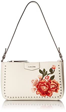 1316b3dd38d Calvin Klein womens Calvin Klein Saffiano Leather Studded & Embroidered  Flower Demi Shoulder Bag, floral