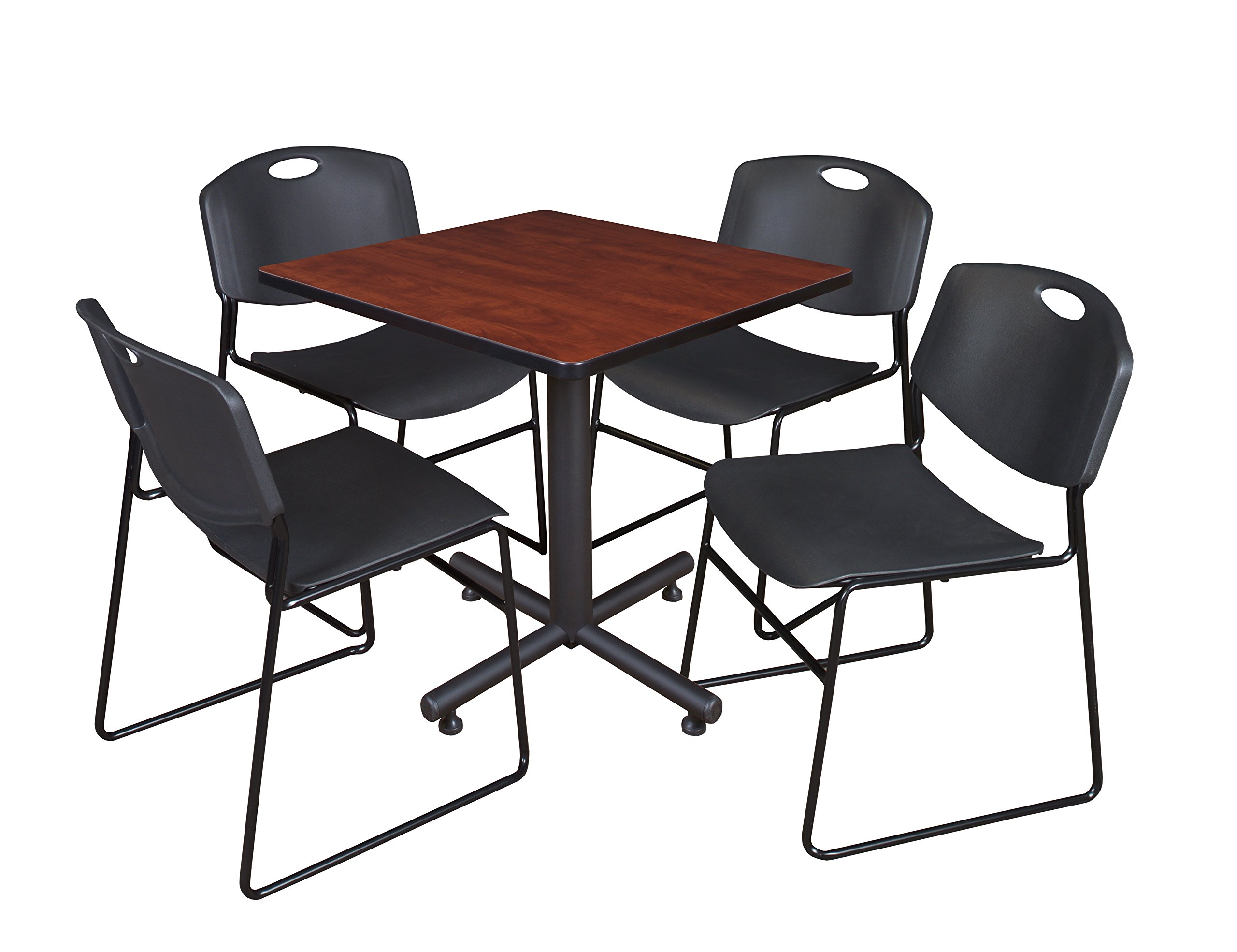 Regency Kobe 30-Inch Square Breakroom Table, Cherry, and 4 Zeng Stack Chairs- Black