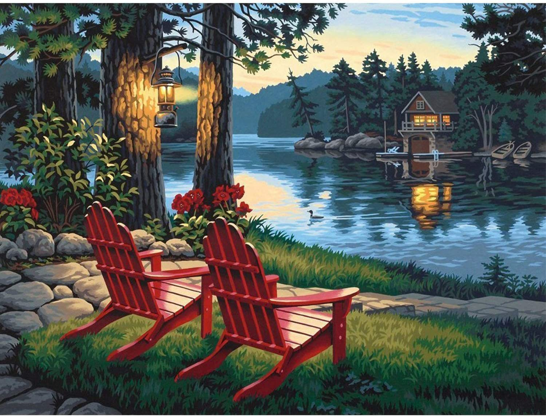 ANMUXI 5D Diamond Painting Kits Full SQUARE Drills Lake Red Chair Landscape Diamond Art 30X40CM
