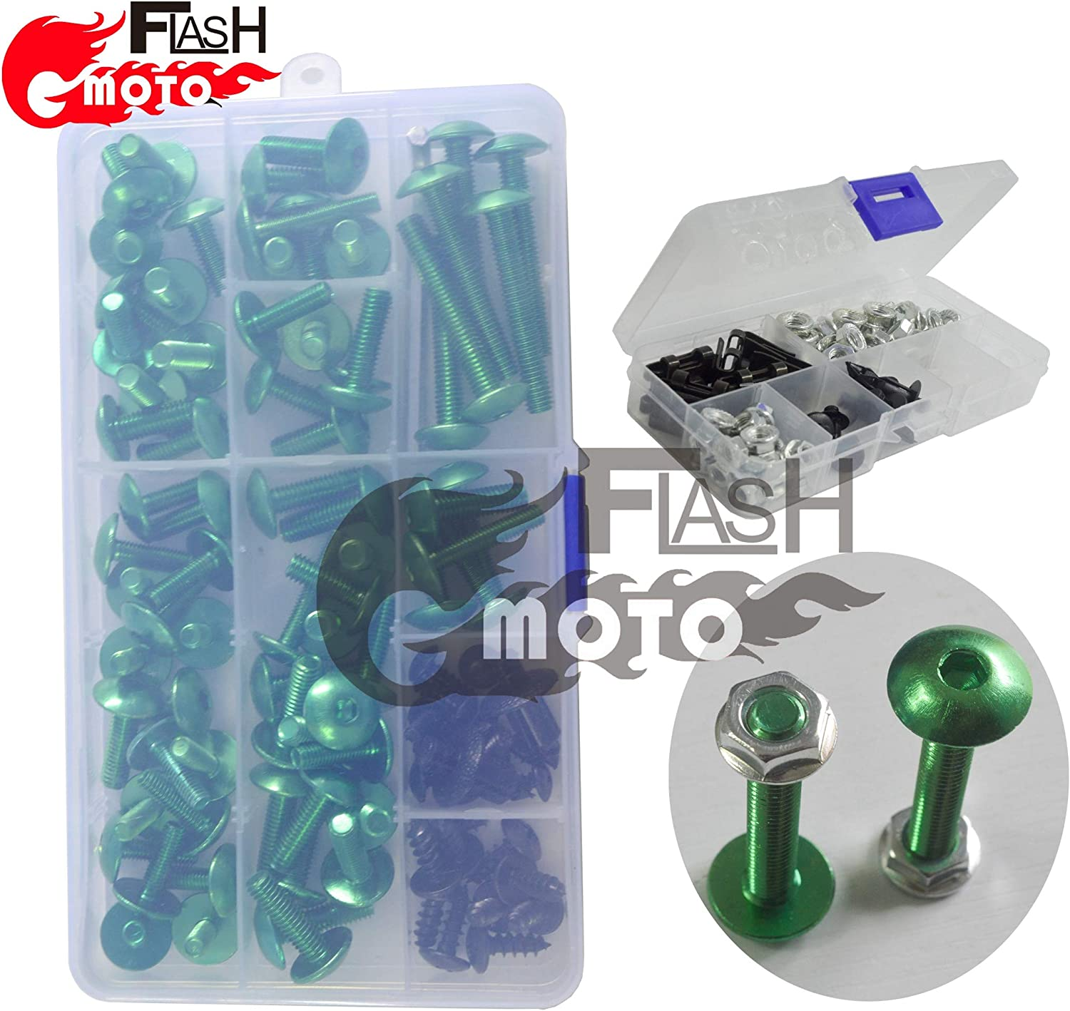 Flashmoto Motorcycle Screw Windshield Fairing Bolts Nuts Washer Kit Fastener Clips for kawasaki ZX9R 1998 1999 Silver