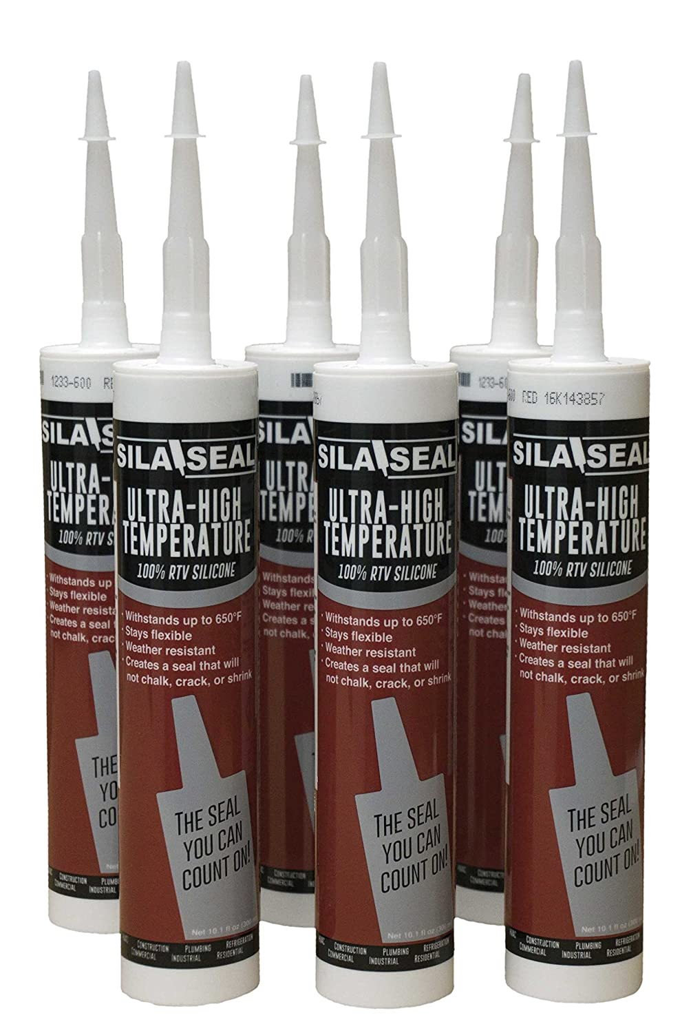 SILA-SEAL Ultra-High Temperature Red (600 Degree) 100% RTV Silicone with reclosable Nozzle (case of 6)