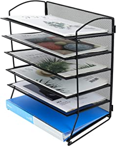 PAG 6-Tier Desktop File Organizer Document Folder Rack Metal Mesh Letter Tray Magazine Holder for Home Office School, Black