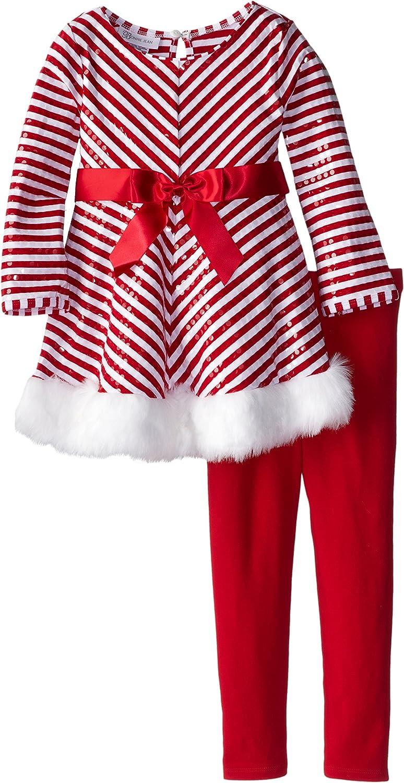 Bonnie Jean Girls/' Stripe Santa Christmas Holiday Red Dress Legging Set 4 5 6 6X